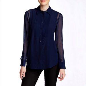 Vince Tuxedo Silk Contrast Blouse Navy Size 8